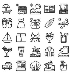 summer vacation related icon set 1 line style vector image