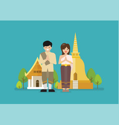 Thai man and woman wearing typical thai dress vector