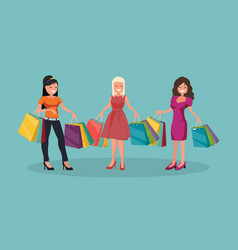 three joyful women with shopping big sale vector image