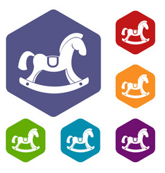 toy horse icons set hexagon vector image