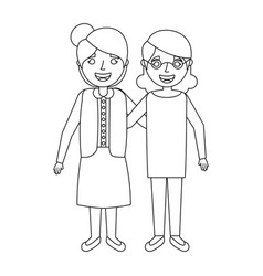 two friends elderly women together embraced vector image