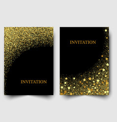 Two template design of invitation with gold sequin vector