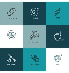 Universe astronomy thin line icons vector