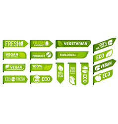 vegan mark labels fresh vegetarian products eco vector image
