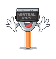 Virtual reality cartoon putty knife in plaster vector