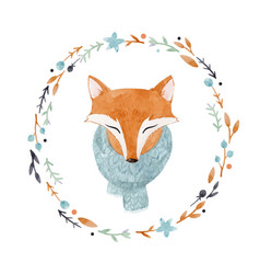 Watercolor fox portrait vector