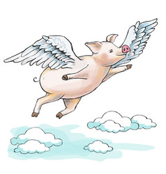 when pigs fly a fat piglet is flying among vector image