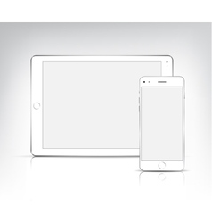 white tablet pc and phone vector image