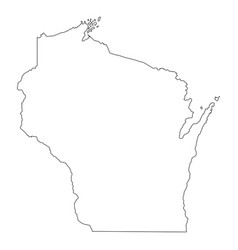 Wisconsin wi state border usa map outline vector