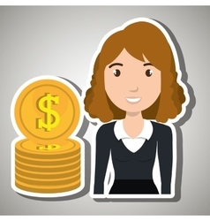 Woman currency money dollar vector