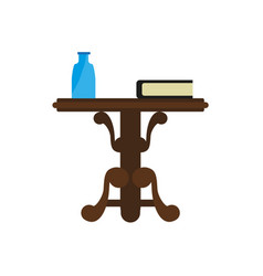 wooden round table with book and bottle isolated vector image