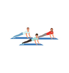 Young men doing plank exercise or push ups vector