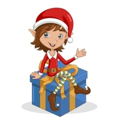 Christmas elf sitting on gift vector image