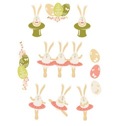 Easter bunnies Easter set vector image