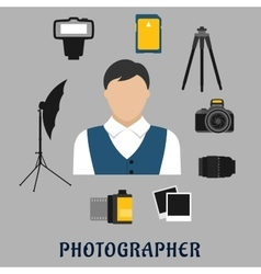 Photographer and devices flat icons vector image