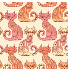 Seamless pattern with beautiful cats vector image