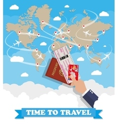 World map and hand with passport ticket card vector image