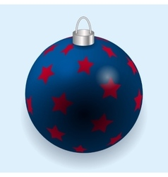 Blue stars with red Christmas ball reflecting vector image vector image