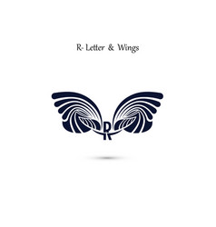 R letter sign and angel wings monogram wing logo vector
