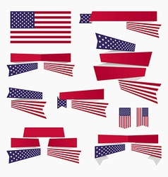 Red white blue american flag ribbons and banners vector image vector image