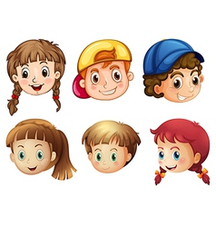 Six different faces vector image vector image