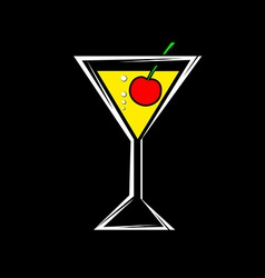 a glass with a cocktail and cherry isolated on a vector image