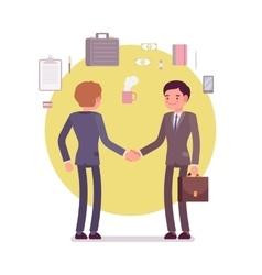 Businessmen greeting handshaking vector image