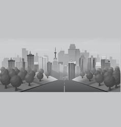 grey road to urban city vector image vector image