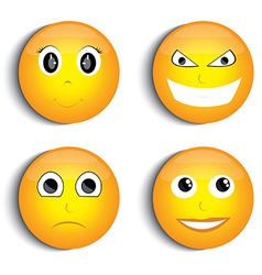 Smiley face set vector image vector image