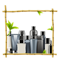 Bamboo frame with male cosmetics vector
