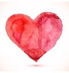 Bright red watercolor isolated heart vector image