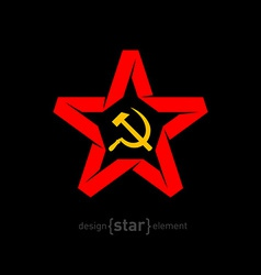 origami red star with socialist symbols on black vector image vector image