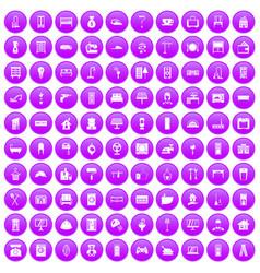 100 comfortable house icons set purple vector image