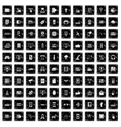 100 technology icons set grunge style vector image