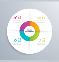 4 business circle infographic background template vector image