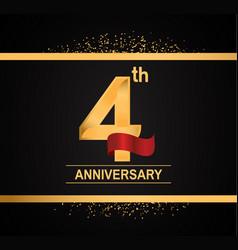 4 years anniversary logotype with premium gold vector