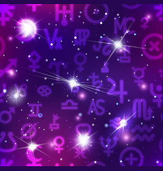 a lot of astronomical signs in colorful night sky vector image