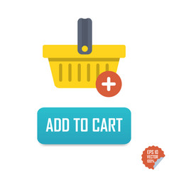 Add to cart button icon with basket vector