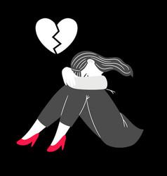 Anxious thinking cartoon unhappy woman vector