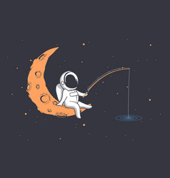 Astronaut fishes in space vector