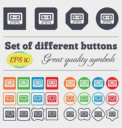 audiocassette icon sign Big set of colorful vector image