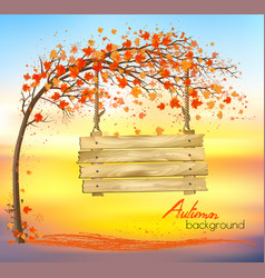 Autumn abstract background with a tree vector