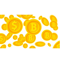 background with falling gold bitcoins and dollars vector image