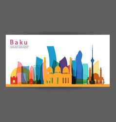 baku colorful architecture skyline vector image