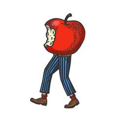 bitten apple walks on its feet color sketch vector image