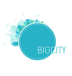 Blue banner with big city in line round panorama vector