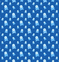 blue seamless kids monsters - colorful background vector image
