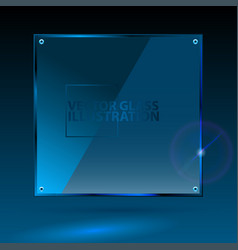 Blue square glass - light background and vector