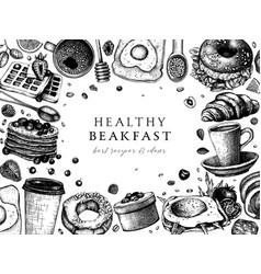Breakfast table top view frame morning food menu vector