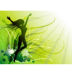 Bright green backdrop with a silhouette of a girl vector